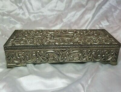1992 Godinger Silver Plated Ornate Scroll Lidded Mirrored Jewelry Box