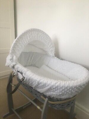 Clair De Lune White Dimple Padded Grey Wicker Baby Moses Basket & Rocking Stand
