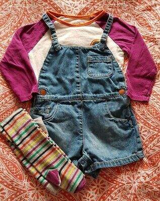 Next Girls Outfit Dungarees Top Tights Rainbow 12-18 Months