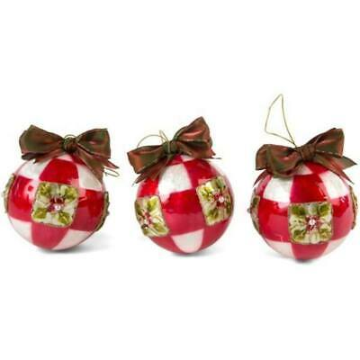New Mackenzie Childs Poinsettia Small Ball Christmas Ornaments - Red 53918-115