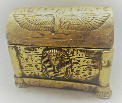Nice Old Antique Egyptian Gold Gilded Stone Box With Depiction Of Winged Isis