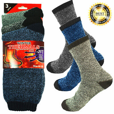 3 Pairs Mens Winter Thermal Super Warm Heated Socks Heavy Duty Boots Size 10-13