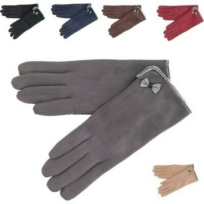Ladies Cold Weather Gloves Made with Suede Microfibre & Fleece Touch Screen