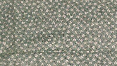 """True Vintage 1930s Green Cotton Yardage Tiny White Flowers Is 35"""" by 27"""" plus"""