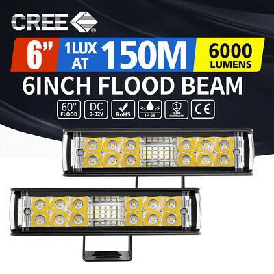 "Pair 7inch LED Light Bar Spot Flood Combo Work OffRoad Driving 400W Lamp 6"" 8"""