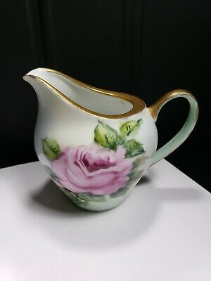 """Beautiful Antique 4"""" Creamer Hand Painted Floral Gold Rim Signed C. Lothian"""