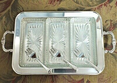 Vintage Leonard Silverplate Footed Tray with 3 glass inserts plus Sheffield Serv