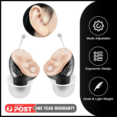 1Pair Portable CIC Digital Hearing Aids In The Ear Invisible Sound Amplifier AU