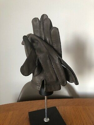 Vintage Pair of French Soft Leather Gloves Hand Stitched Grey