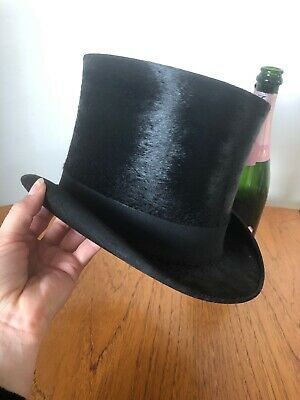 Beautiful Vintage French Top Quality Black Top Hat Topper