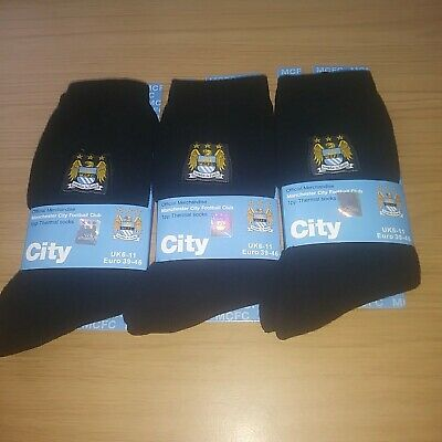 Manchester city Thermal black Socks 3 Pairs mens Size 6-11 official merchandise.