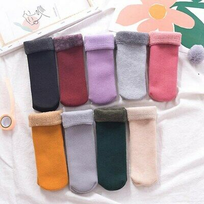 Kids Girl Thickening Cashmere Winter Warm Solid Thermal Keep Sleeping Socks