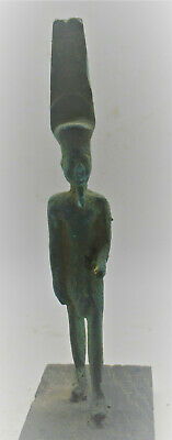 Rare Ancient Egyptian Bronze Statuette Of Standing Ptah On Wooden Stand