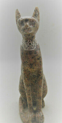 Beautiful Egyptian Stone Carved Statuette Of Bastet Cat