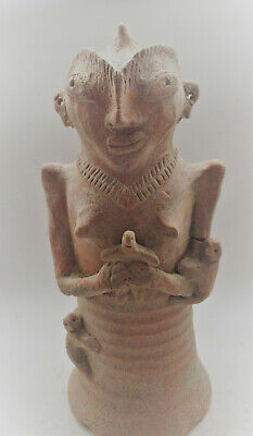 Large & Impressive Indus Valley Harappan Pillar Idol Holding Child 35Cm +