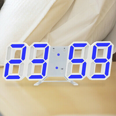 LED USB Digital 3D Wall Clock Home Snooze 12/24H Dimmer Night Light Desk Alarm