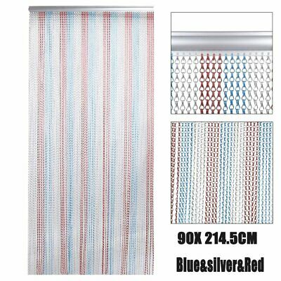 Metal Aluminium Chain Link Fly Pest Insect Door Screen Curtain Red Blue oC