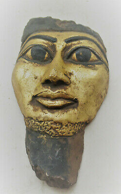 Wonderful Old Egyptian Gold Gilded Mummy Mask Face Of Pharoah