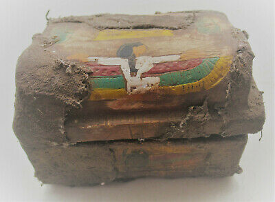 Beautiful Undated Egyptian Painted Stone With Coptic Cloth And Winged Isis