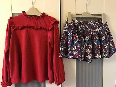 Girls Next Blue & Red Floral Skort & Top Outfit - 3 Years