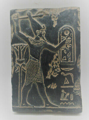 Circa 500Bce Ancient Egyptian Black Glazed Stone Tablet With Heiroglyphics
