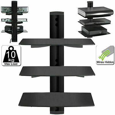 3 Tier Black Floating DVD Player Glass Shelf Game Console Sky Box PS4 XBOX