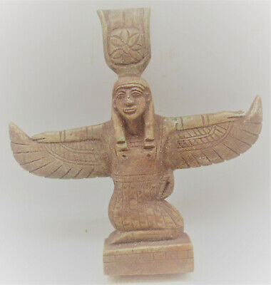 Beautiful Vintage Egyptian Glazed Stone Statue Of Winged Isis