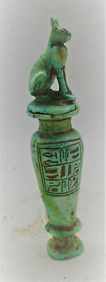 Circa 644-332Bce Ancient Egyptian Glazed Faience Vessel With Bastet On Top
