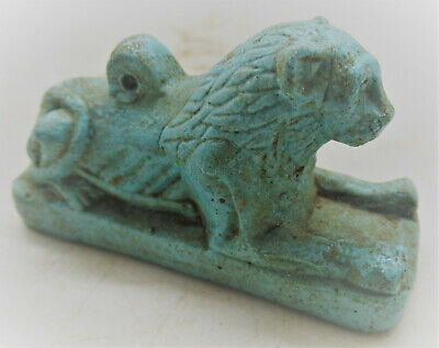 Scarce Ancient Egyptian Glazed Faience Statuette Of Recumbant Lion 700-500Bc
