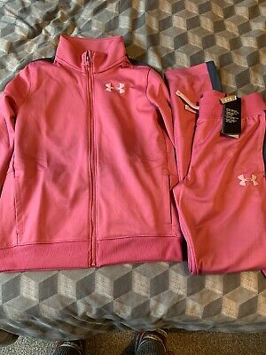 Girls Under Armour Pink Tracksuit Age 13-14 Brand New