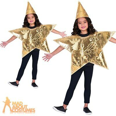 Child Shining Gold Star Costume Christmas Nativity Boys Girls Fancy Dress Outfit