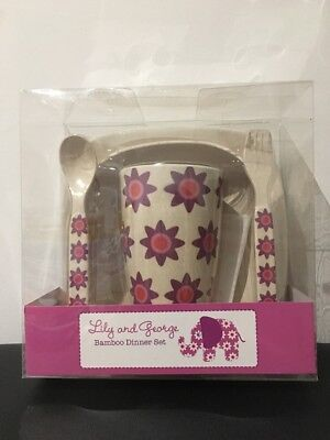 Lily And George Kids Bamboo Dinner Set - Elephant Flower Design