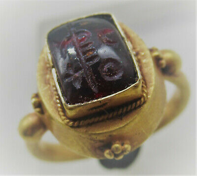 Ancient Islamic High Carat Gold Ring With Arabic Intaglio Inscription 900-1000Ad