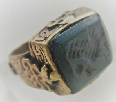 Superb Late Medieval Islamic Gold Gilded Ottomans Seal Ring With Agate Stone