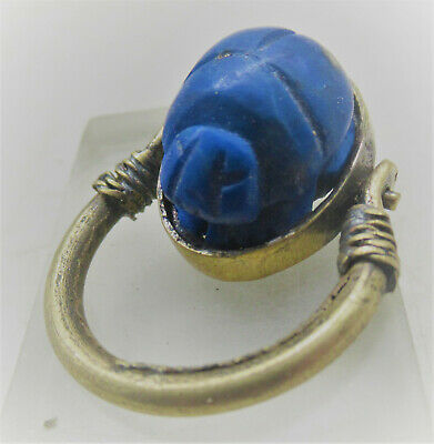 Beautiful Ancient Egyptian Lapis Lazuli Scarab Set In A Gold Gilt Swivel Ring