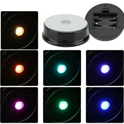 1 Pack 7 Color LED Colored lights Illuminated Crystal Glass Display Stand Base