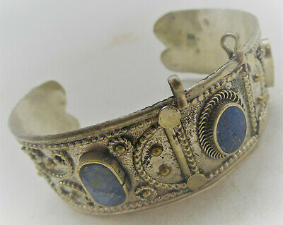 Beautiful Late Medieval Islamic Ottomans Silver Bracelet With Stone Inserts