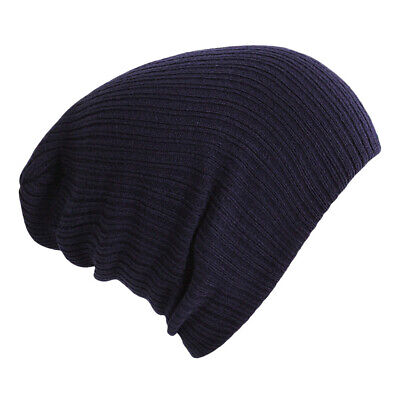 Navy Blue Men Women Knitted Beanie Hat Ears Cap Winter Warm Thermal Lazy Style