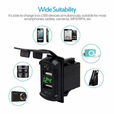 Auto Boat Ship Dual USB Charger Socket with Voltmeter Switch Panel Green LED 12V