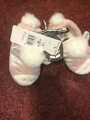Girls slippers size 8-9 pink/white -BRAND NEW with tags £7 F&F kids