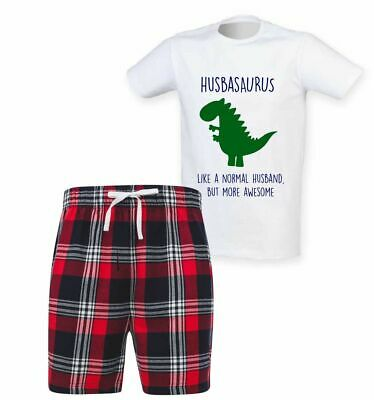 Mens Husband Dinosaur Christmas Tartan Short Pyjama Set Family Matching Twinning