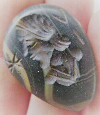 Ancient Sasanian Agate Stone Bead Pendant With Ruler Impression Beautiful
