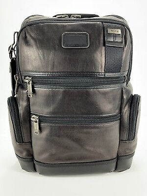 Tumi Alpha Bravo Knox Distressed Black Leather Laptop Backpack Limited 92681DL2
