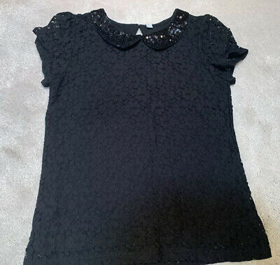 M&S Girls Black Sparkly Sequin Lace Black Party Top Age 5-6 Vgc
