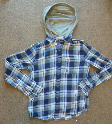 Abercrombie & Fitch Boys Hooded Shirt Size XL 14-15 Years Blue Check BNWT    5/1