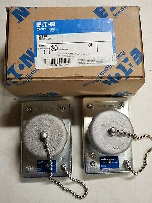2-Crouse Hinds DS96 Receptacle w/Cover-Single-15A 125V 3 Pole-Watertight-Eaton