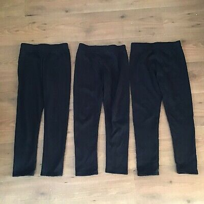 Girls Fleece Lined Leggings Size Age 9-10 Years Black Warm Winter Thermal