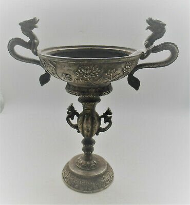 Beautiful Old Antique Chinese Silvered Chalice With Twin Dragon Handles