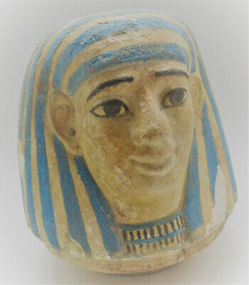 Scarce Ancient Egyptian Canopic Jar Lid Circa 1500-1000Bce (Some Repairs)