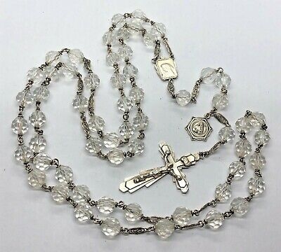 †NUN Antique ART DECO CRYSTAL Beads & STERLING SILVER Rosary w Filigree Spacers†